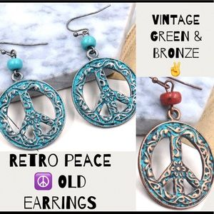 SALE🔻PEACE ☮️ OLD EARRINGS VINTAGE GREEN & BRONZE